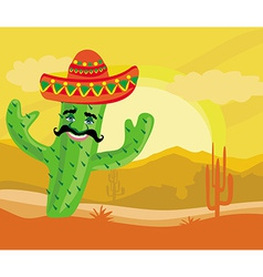 Funny cactus with a sombrero in desert vector
