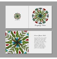 Greeting card floral mandala design vector