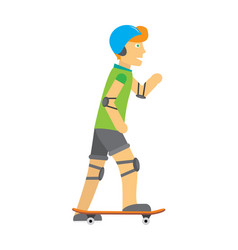guy in helmet elbow and knee pads skateboarding vector image