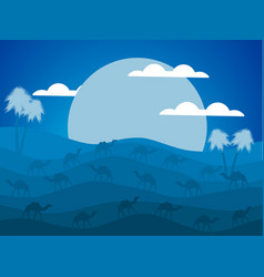 Night desert landscape caravan of camels vector