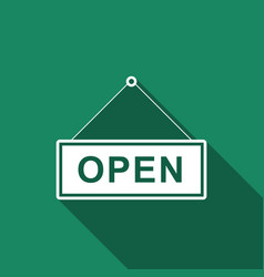 open door sign flat icon with long shadow vector image