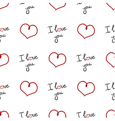 pattern with red hearts and words i love you vector image