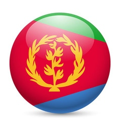 Round glossy icon of eritrea vector