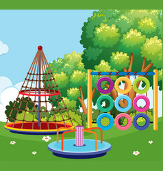 scene of playground with many stations vector image vector image