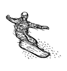 snowboarder jumping through air vector image