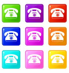 Taxi phone icons 9 set vector