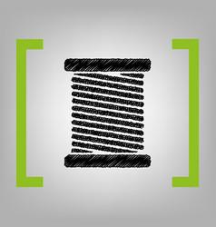 Thread sign black scribble vector