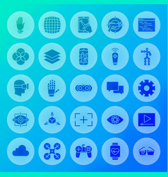 Virtual reality solid circle icons vector