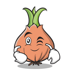 Wink face onion character cartoon vector
