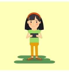 Young girl with tablet gadget vector