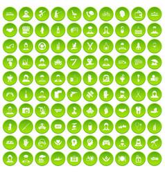 100 human resources icons set green circle vector