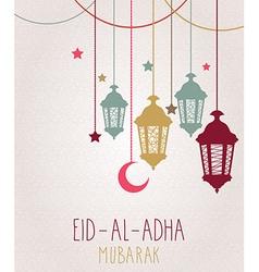 Holiday of handwritten eid al adha label vector