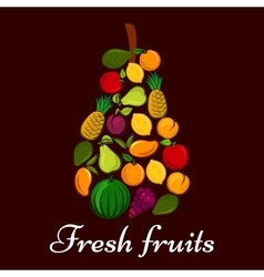 Pear symbol made up of fresh fruits vector
