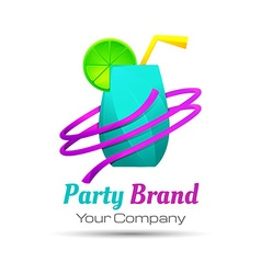 Colorful party cocktail icon concept for bar menu vector