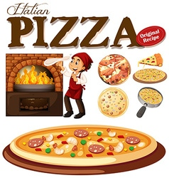 Chef making pizza in the oven vector image