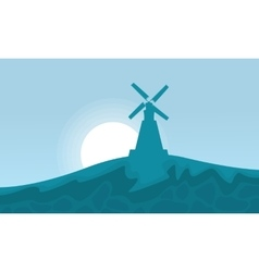 Windmill on the hill scenery vector