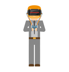 Man wearing vr goggles with control vector