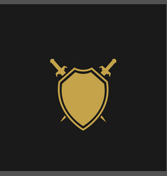 shield with swords vector image