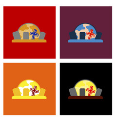 Assembly flat icons halloween cemetery full moon vector