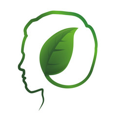 Green think head silhouette vector