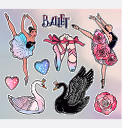 Set of ballet stickers patches or elements vector