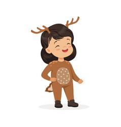 Cute happy little girl dressed as a deer kids vector