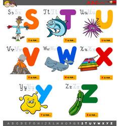 educational cartoon alphabet set for children vector image
