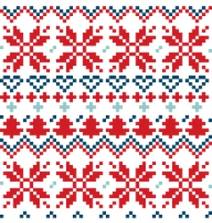 Blue and red christmas nordic seamless pattern vector