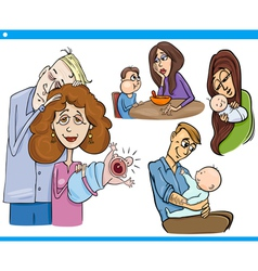 Parents and kids cartoon set vector