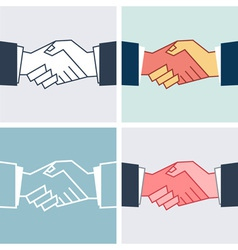Flat handshake icons business vector