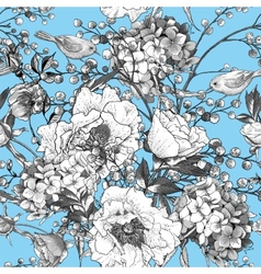 Seamless monochrome floral pattern with birds vector