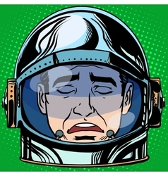 Emoticon sadness emoji face man astronaut retro vector