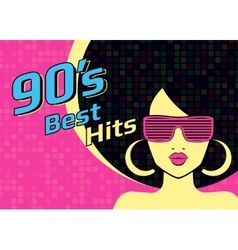 Best hits of 90s illistration with disco woman vector