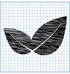 Icon leaf with pen effect on paper vector