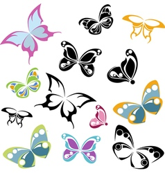 Multi-colored silhouettes of butterflies vector