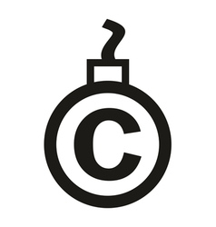Cannonball-shaped copyright sign vector