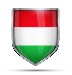 Shield with flag hungary vector
