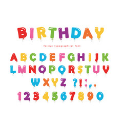 Birthday balloon font festive abc letters and vector