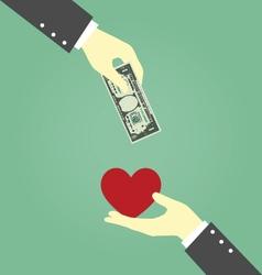 Businessman Hands Exchanging Between Money and vector image vector image