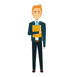 Businessman with folder avatar character icon vector