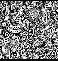 cartoon hand-drawn doodles octoberfest seamless vector image vector image