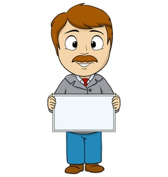 Cartoon man with empty board vector image vector image