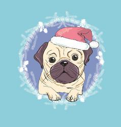 christmas greeting card pug dog with red santa s vector image