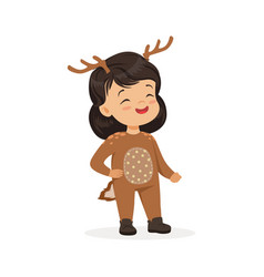 cute happy little girl dressed as a deer kids vector image vector image
