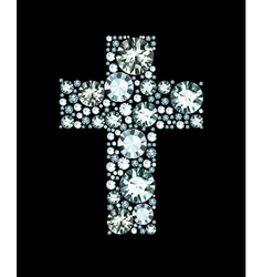 Diamond christian cross vector