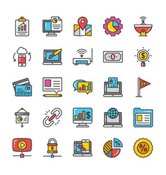 digital and internet marketing icons set 8 vector image vector image