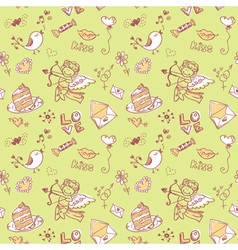 Doodle valentines day lovely seamless texture vector