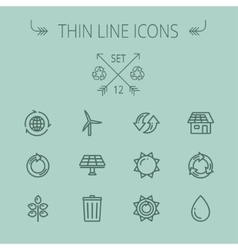 Ecology thin line icon set vector