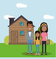 family near house residential vector image vector image