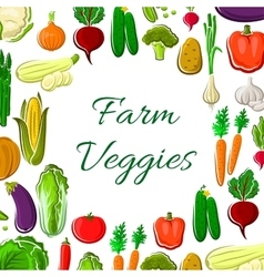 Farm vegetable poster with veggies frame border vector image vector image